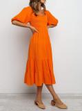 R.Vivimos Women's Summer Linen Lantern Sleeves Ruffled Off Shoulder A-Line Midi Dresses