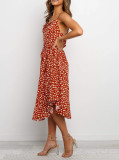 R.Vivimos Women's Summer Spaghetti Straps Irregular Polka Dot Cowl Neck Knee Length Dresses