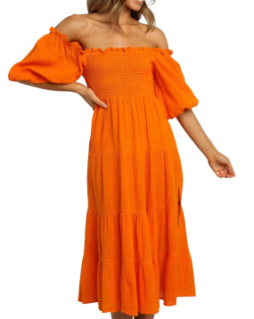 R.Vivimos Women's Summer Linen Lantern Sleeves Ruffled Off Shoulder A-Line Midi Dresses