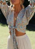 R.Vivimos Women's Summer Deep V Neck Long Sleeves Boho Floral Print Casual Crop Tops Blouses