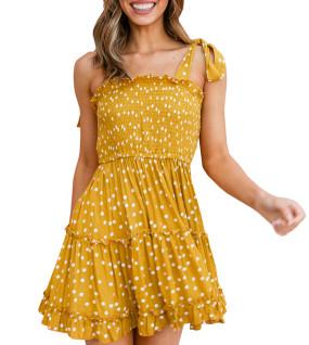 R.Vivimos Women's Summer Cotton Straps Polka Dot Ruffled Swing A-Line Mini Dresses
