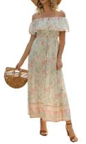 R.Vivimos Women's Summer Floral Print Cotton Off Shoulder Button Up Ruffled Midi Dress with Slit