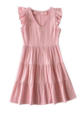 R.Vivimos Women's Summer Short Sleeve Cotton V Neck Buttons Ruffled Swing Mini Dress