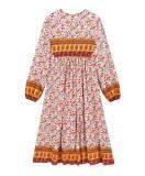 R.Vivimos Women's Long Sleeve Floral Print Retro V Neck Tassel Bohemian Midi Dresses