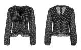 R.Vivimos Women's Summer Long Sleeve Ruffled Polka Dot V-Neck Sheer Chiffon Shirt Blouses Tops