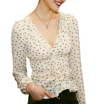 R.Vivimos Women's Summer Long Sleeve Ruffled Polka Dot V-Neck Sheer Chiffon Shirt Blouses Tops