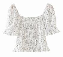 R.Vivimos Women's Summer Short Sleeve Chiffon Polka Dot Ruffled Square Neckline Crop Blouses Tops