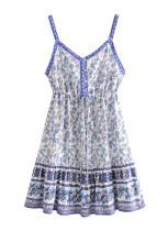 R.Vivimos Women's Summer Cotton Floral Print Spaghetti Straps V Neck Buttons A-Line Mini Dress