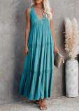 R.Vivimos Women's Summer Cotton Boho V Neck Backless Flowy Casual Tank Maxi Dress
