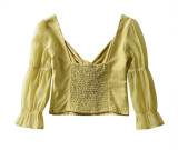 R.Vivimos Women's Summer Puff Sleeves V-Neck Casual Tie Front Knot Crop Blouses Tops