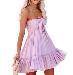 R.Vivimos Women's Summer Cotton Boho Beach Sleeveless Tie Front Mini Dress Tube Top Dress