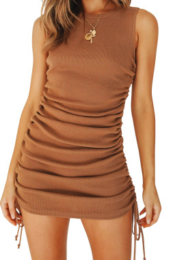 R.Vivimos Women's Summer Tank Casual Ruched Drawstrings Stretchy Bodycon T Shirt Mini Dresses