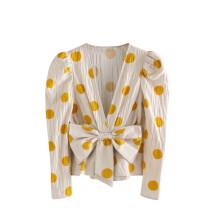 R.Vivimos Women's Long Sleeve Deep V Neck Bow Polka Dot Peplum Ruffle Blouses Tops