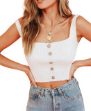 R.Vivimos Women's Summer Sleeveless Casual Buttons Cute Ribbed Knit Tank Vest Cami Crop Top
