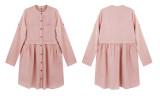 R.Vivimos Women's Cotton 3/4 Sleeves Button Down Shirt Mini Dress with Pockets