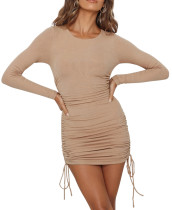 R.Vivimos Women's Winter Long Sleeve Ruched Drawstrings Knit Stretchy Bodycon T Shirt Mini Dresses