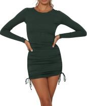 R.Vivimos Women's Winter Long Sleeve Ruched Drawstrings Knit Stretchy Bodycon T Shirt Mini Dresses