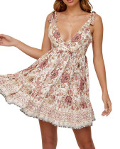R.Vivimos Women Summer Spaghetti Straps Cotton Floral Print Backless V Neck Swing Mini Dress