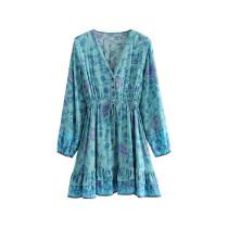 R.Vivimos Women's  Cotton Long Sleeve Ruffles V Neck Buttons Floral Print Mini Dress