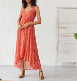 R.Vivimos Women's Summer Spaghetti Straps Polka Dot Print Button Up Ruffle Boho Beach Midi Dress
