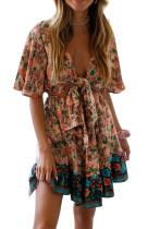 R.Vivimos Women's Summer Short Sleeves Floral Print Tie Front A Line Ruffle Boho Beach Mini Dress