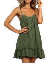 R.Vivimos Women's Summer Linen Spaghetti Straps Ruffled V Neck Buttons Tunic Mini Dress