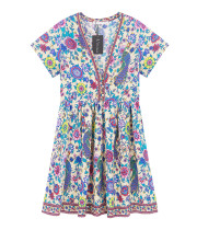 R.Vivimos Womens Short Sleeve Floral Print V Neck Cotton Short Dresses