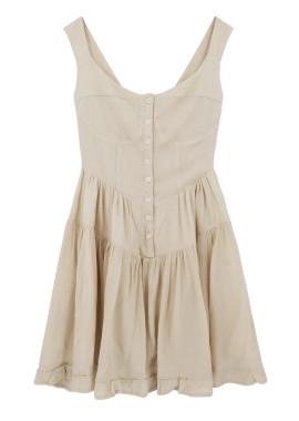 R.Vivimos Women's Summer Cotton V-Neck Button Down Casual Ruffled Swing Mini Dress
