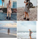 R.Vivimos Women's Summer Cotton V-Neck Casual Waist Tie Leopard Floral Swing Mini Dress
