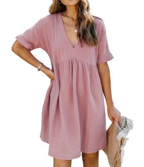 R.Vivimos Women's Summer Short Sleeve V Neck Linen Casual Swing Tunic Mini Dress with Pockets