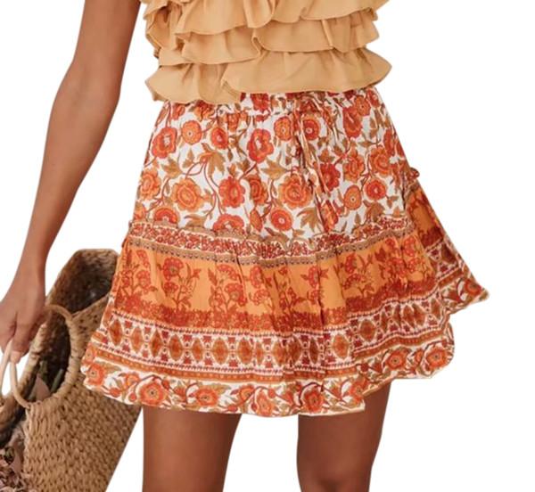 R.Vivimos Women's Summer Cotton Ruffle Floral Beach Boho A-Line Skater Swing Mini Skirt
