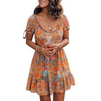 R.Vivimos Women's Summer Cotton Short Sleeves V Neck Floral Ruffled Casual Boho Mini Dress
