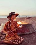 R.Vivimos Women's Summer Cotton Ruffles V-Neck Casual Waist Tie Floral Print Mini Dress
