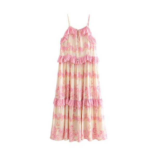 R.Vivimos Women's Summer Cotton Floral Print Spaghetti Straps Ruffled Backless Midi Dress
