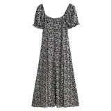 R.Vivimos Women's Summer Puff Sleeves Cotton Casual Floral Print Square Neckline Midi Dress with Slit