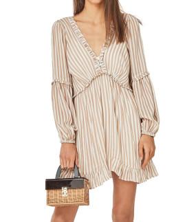 R.Vivimos Women's Cotton Long Sleeves V Neck Button Up Striped Ruffled Casual Boho Mini Dress