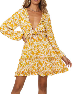 R.Vivimos Women's Fall Tie Front Long Sleeves V-Neck Ruffle Casual Floral Print Boho Swing Mini Dress