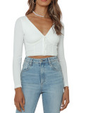 R.Vivimos Women Fall Basic Long Sleeves V Neck Button Down Ribbed Knit Crop Sweater Blouses Tops