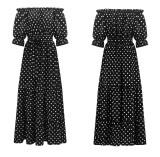 R.Vivimos Women Summer Off Shoulder Polka Dot Long Dresses