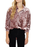 R.Vivimos Women Velvet Tops Sexy Blouses Long Sleeve V-neck Button Down Casual Shirts