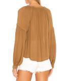 R.Vivimos Women's Fall Long Sleeves V Neck Front Tie Ruffle Collar Casual Cotton Blouse Tops