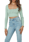 R.Vivimos Women's Fall Long Sleeves Square Neck Casual Ribbed Knit Slim Solid Crop Blouse Tops