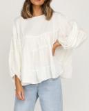 R.Vivimos Women's Fall Cotton Long Sleeves Casual Ruffle Babydoll Tunic Blouse Tops for Women