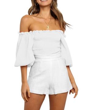 R.Vivimos Women's Summer Linen Short Sleeves Off The Shoulder Crop Tops Ruffle Slim Blouses