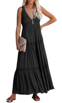R.Vivimos Women's Summer Cotton Boho V Neck Backless Flowy Casual Tank Maxi Dress