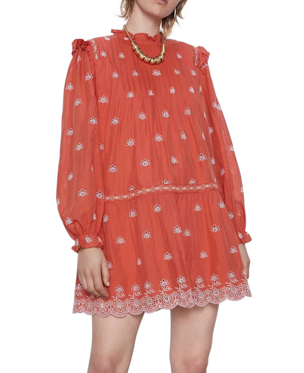 R.Vivimos Women's Cotton Long Sleeve Floral Embroidered Ruffled Casual Mini Tunic Dress