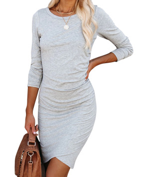 R.Vivimos Women's Fall Cotton Long Sleeve Casual Ruched Dress Bodycon T-Shirt Mini Dress