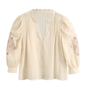 R.Vivimos Women's Cotton 3/4 Sleeves V Neck Floral Embroidery Button Down Blouses Tops