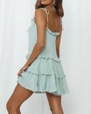 R.Vivimos Women's Summer Cotton Long Sleeves Spaghetti Straps Layered Ruffles Casual Mini Dress