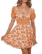 R.Vivimos Women's Summer Short Sleeve Cotton Floral Print Bohemian Mini Dress